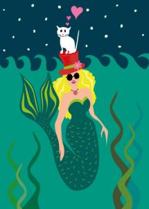 vector illustration - mermaid with cat